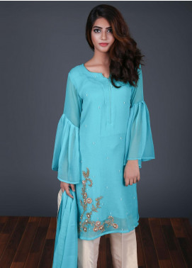 Zoonaj Embroidered Chiffon Stitched 3 Piece Suit ZE-186 Sea Green