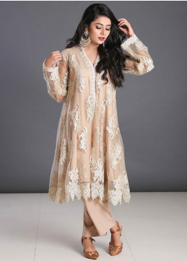 Zoonaj Embroidered Zari Net Stitched 3 Piece Suit ZF-125 Cream Net