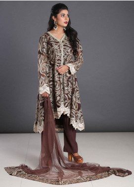 Zoonaj Embroidered Zari Net Stitched 3 Piece Suit ZF-152 Chocolate Golden