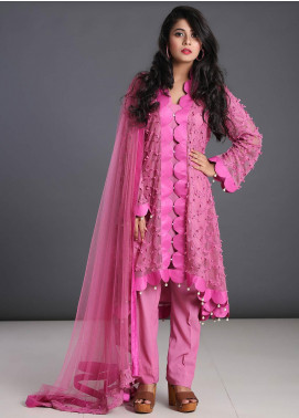 Zoonaj Embroidered Chiffon Stitched 3 Piece Suit ZF-158 Purple