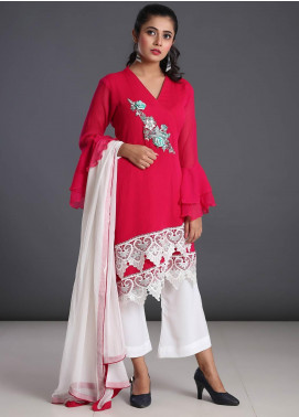 Zoonaj Embroidered Chiffon Stitched 3 Piece Suit ZF-178 Shocking Pink