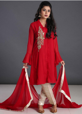 Zoonaj Embroidered Chiffon Stitched 3 Piece Suit ZF-179 Red