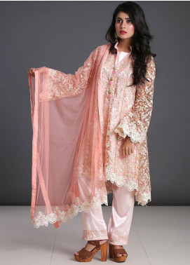 Zoonaj Embroidered Zari Net Stitched 3 Piece Suit ZF-199 Pink Net
