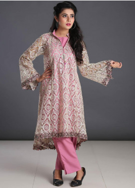 Zoonaj Embroidered Zari Net Stitched 3 Piece Suit ZF-201 Golden Tea Pink