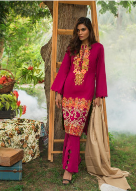 ZS Textile Embroidered Linen Unstitched 3 Piece Suit ZS19LN 2 - Winter Collection