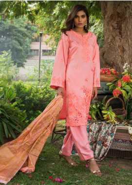 ZS Textile Embroidered Linen Unstitched 3 Piece Suit ZS19LN 4 - Winter Collection