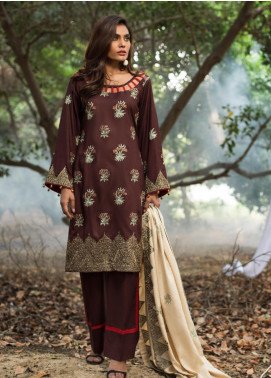 ZS Textile Embroidered Linen Unstitched 3 Piece Suit ZS19LN 7 - Winter Collection