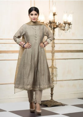 Zujaaj Embroidered Organza Stitched 3 Piece Suit ZJ-141 Grey