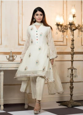 Zujaaj Embroidered Organza Stitched 3 Piece Suit ZJ-145 Peacock Cream