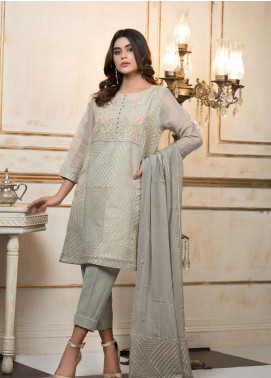 Zujaaj Embroidered Organza Stitched 3 Piece Suit ZJ-150 Shimmer Grey