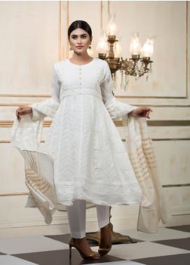 Zujaaj Embroidered Chiffon Stitched 3 Piece Suit ZJ-151 White