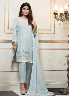 Zujaaj Embroidered Cotton Net Stitched 3 Piece Suit ZJ-154 Ice Blue