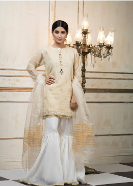 Zujaaj Embroidered Organza Stitched 3 Piece Suit ZJ-158 Golden