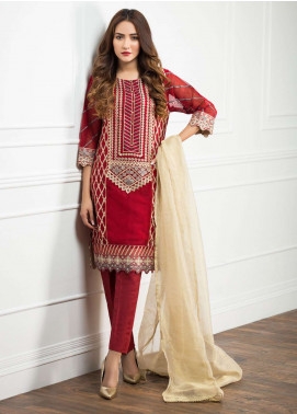 Zujaaj Embroidered Organza Stitched 3 Piece Suit ZJ-127 Maroon