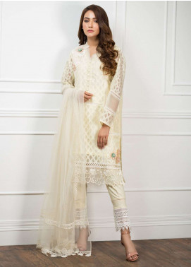 Zujaaj Embroidered Organza Stitched 3 Piece Suit ZJ-133 Lemon