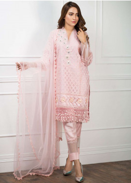 Zujaaj Embroidered Organza Stitched 3 Piece Suit ZJ-134 Powder Pink