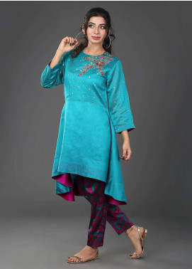 Zujaaj Embroidered  Stitched 2 Piece Suit ZJ-09 Sea Green