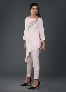Zujaaj Embroidered  Stitched 2 Piece Suit ZJ-10 Powder Pink