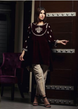 Zujaaj Embroidered Velvet Stitched Kurtis ZJ-168 Plum