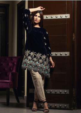 Zujaaj Embroidered Velvet Stitched Kurtis ZJ-170 Blue