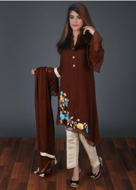 Zoonaj Embroidered Chiffon Stitched 3 Piece Suit Chocolate Brown ZF 168