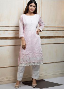 Zujaaj Embroidered Cotton Silk Stitched 2 Piece Suit ZJ-140 Powder Pink