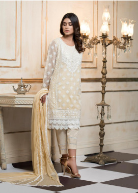 Zujaaj Embroidered Organza Stitched 3 Piece Suit ZJ-144 Pastels Beige