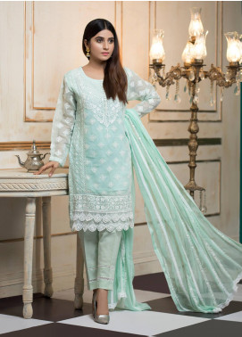 Zujaaj Embroidered Organza Stitched 3 Piece Suit ZJ-144 Pastels Blue