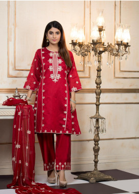 Zujaaj Embroidered Organza Stitched 3 Piece Suit ZJ-149 Bushes Maroon