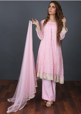 Zoonaj Embroidered Organza Stitched 3 Piece Suit Pink ZFOD 20