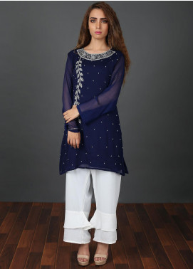 Zoonaj Embroidered Chiffon Stitched 2 Piece Suit Blue ZF 167