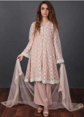 Zoonaj Embroidered Zari Net Stitched 3 Piece Suit Golden ZF 164