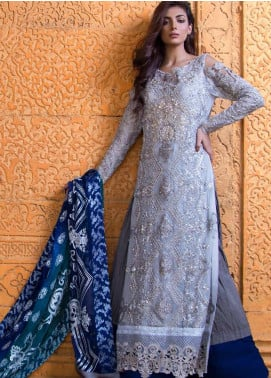 ZUNUJ Embroidered Chiffon Unstitched 3 Piece Suit ZJ20LC D-02 - Luxury Collection