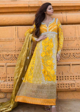 ZUNUJ Embroidered Chiffon Unstitched 3 Piece Suit ZJ20LC D-05 - Luxury Collection