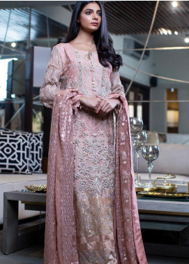 ZUNUJ Embroidered Chiffon Unstitched 3 Piece Suit ZJ20C 01 PINK HUE - Luxury Collection