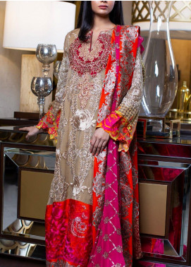 ZUNUJ Embroidered Chiffon Unstitched 3 Piece Suit ZJ20C 02 RAVISHING ROSE - Luxury Collection