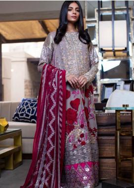 ZUNUJ Embroidered Chiffon Unstitched 3 Piece Suit ZJ20C 03 VIVA GLAM - Luxury Collection