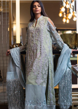 ZUNUJ Embroidered Chiffon Unstitched 3 Piece Suit ZJ20C 04 MINT GLITTER - Luxury Collection