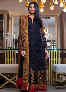 ZUNUJ Embroidered Chiffon Unstitched 3 Piece Suit ZJ20C 05 BLACK MAJESTY - Luxury Collection