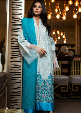 ZUNUJ Embroidered Chikankari Unstitched 3 Piece Suit ZJ19CK 1 - Luxury Collection