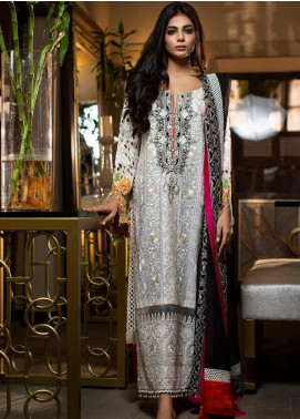 ZUNUJ Embroidered Chikankari Unstitched 3 Piece Suit ZJ19CK 2 - Luxury Collection