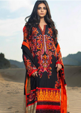 ZUNUJ Embroidered Cotton Net Unstitched 3 Piece Suit ZJ19W 2 - Winter Collection