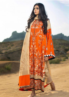 ZUNUJ Embroidered Cotton Net Unstitched 3 Piece Suit ZJ19W 4 - Winter Collection