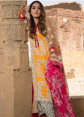 ZUNUJ Embroidered Chiffon Unstitched 3 Piece Suit ZJ19E E-01 - Festive Collection