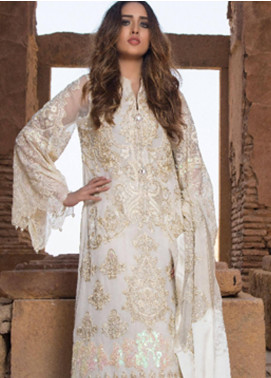 ZUNUJ Embroidered Chiffon Unstitched 3 Piece Suit ZJ19E E-02 - Festive Collection