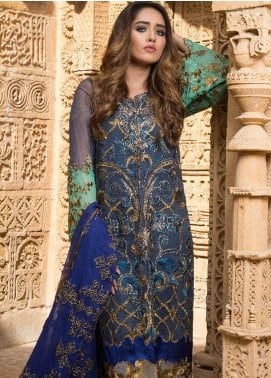 ZUNUJ Embroidered Chiffon Unstitched 3 Piece Suit ZJ19E E-03 - Festive Collection