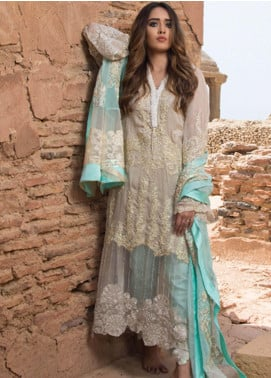 ZUNUJ Embroidered Chiffon Unstitched 3 Piece Suit ZJ19E E-04 - Festive Collection