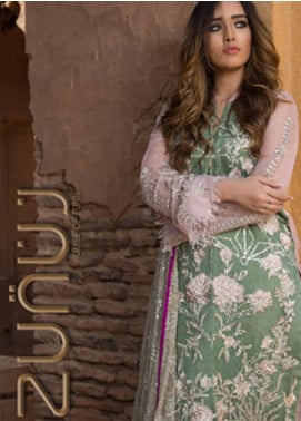 ZUNUJ Embroidered Chiffon Unstitched 3 Piece Suit ZJ19E E-05 - Festive Collection