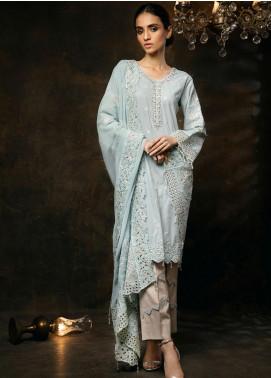 Zurr Embroidered Lawn Unstitched 3 Piece Suit AB20Z AB-01 GRISE BLEUE - Festive Collection
