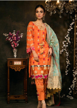 Zurr Embroidered Lawn Unstitched 3 Piece Suit AB20Z AB-03 TANG - Festive Collection